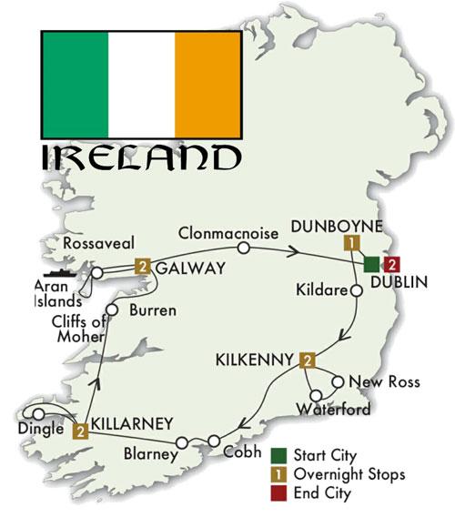 CIE Tours Ireland Map