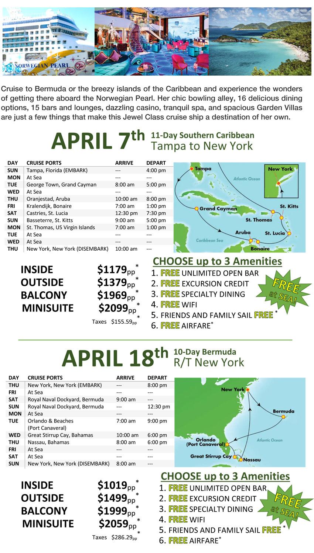 Norwegian Pearl Caribbean Featured Getaway