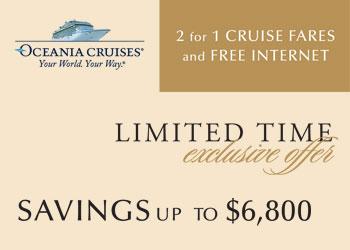 Oceania Cruises: 2 for 1 Cruise Fares